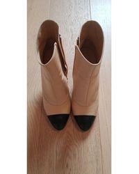Chanel Bottines & low boots à talons cuir beige - Neutre