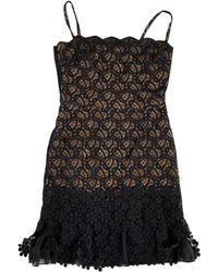 Oscar de la Renta Robe courte coton noir