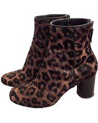 Sandro Bottines & low boots à talons cuir animalier - Multicolore