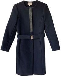 Sandro Manteau laine bleu