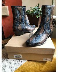 Zadig & Voltaire Santiags, bottines, low boots cowboy cuir animalier - Multicolore