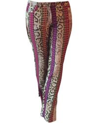 John Galliano Pantalon évasé cuir multicolore