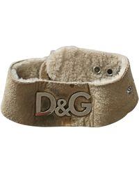 Dolce & Gabbana Bracelet cuir beige - Neutre