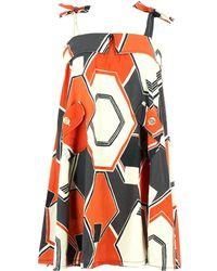 Maje Robe mi-longue lin multicolore - Orange