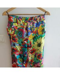 Roberto Cavalli - Pantalon droit soie multicolore - Lyst