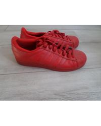 adidas Baskets cuir rouge