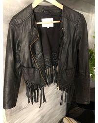 Maje - Veste en cuir cuir noir - Lyst