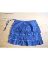 Claudie Pierlot - Jupe courte coton bleu - Lyst
