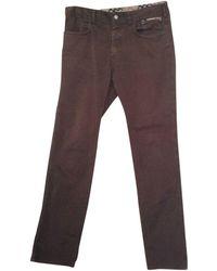 Burberry Pantalon droit coton marron