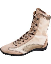 Tod's - Bottines & low boots plates daim beige - Lyst