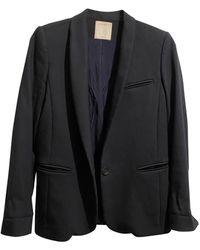 Sandro Blazer, veste tailleur laine bleu