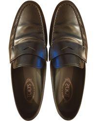 Tod's - Mocassins cuir noir - Lyst