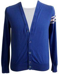 Moncler - Gilet, cardigan coton bleu - Lyst