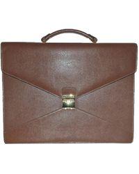 Lancel - Porte document, serviette cuir marron - Lyst