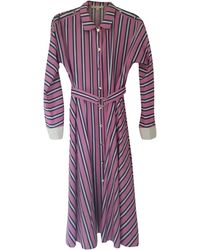 Maje Robe longue coton rose