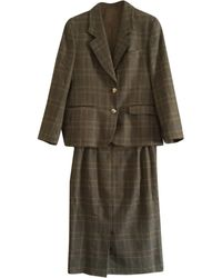 Burberry Tailleur jupe laine marron