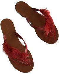 Dior Mules cuir rouge