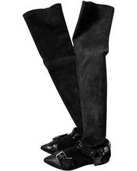 Isabel Marant - Bottes cuissards daim noir - Lyst