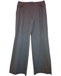 John Galliano Pantalon large coton gris