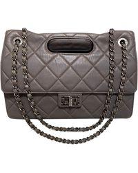Chanel - Sac à main en cuir cuir gris - Lyst