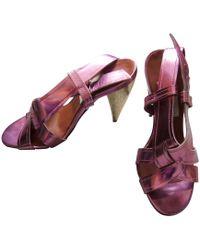 Lanvin Sandales à talons cuir verni rose