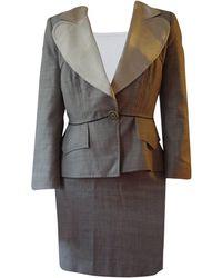 Christian Lacroix Tailleur jupe coton gris
