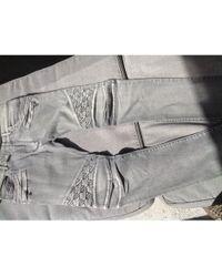 Balmain Jeans slim coton gris