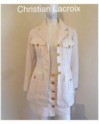 Christian Lacroix Tailleur jupe coton beige - Neutre