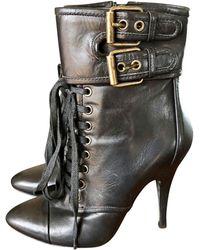Balmain Bottines & low boots à talons cuir noir