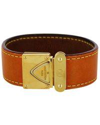 Louis Vuitton - Bracelet cuir et métal doré beige - Lyst