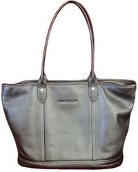 Longchamp - Sac à main en cuir cuir irisé gris - Lyst