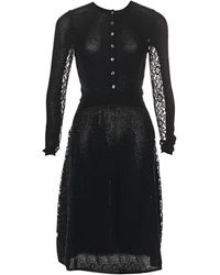 Oscar de la Renta Robe mi-longue laine noir