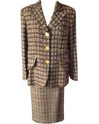 Christian Lacroix Tailleur jupe laine marron