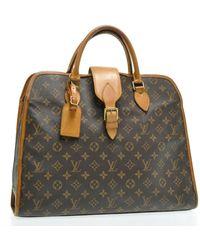 Louis Vuitton Sac à main en tissu toile marron