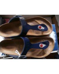 Birkenstock Tongs cuir bleu
