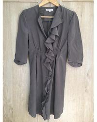 Maje - Robe courte soie beige - Lyst