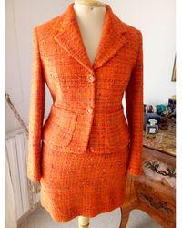 Versace Tailleur jupe coton orange