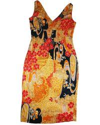 Dolce & Gabbana - Robe mi-longue viscose doré - Lyst