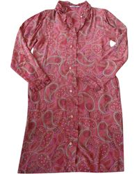 Balmain Robe mi-longue soie rouge