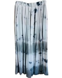 Maje Jupe longue acrylique kaki - Bleu