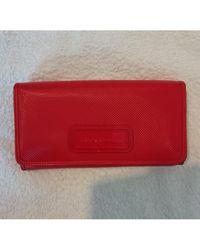 Longchamp Portefeuille cuir verni rouge