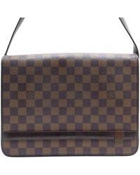 Louis Vuitton Sac à main en cuir toile marron