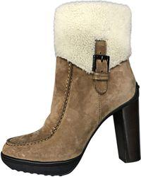 Tod's - Bottines & low boots à talons daim beige - Lyst
