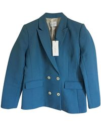 Sandro Blazer, veste tailleur coton bleu