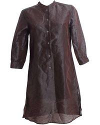Max Mara - Tailleur pantalon lin marron - Lyst