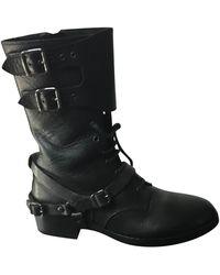 The Kooples - Bottines & low boots plates cuir noir - Lyst