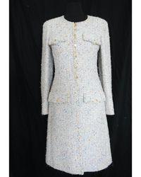 Chanel Manteau laine mélangée multicolore