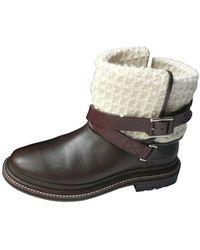 Chanel Bottines & low boots motards cuir marron