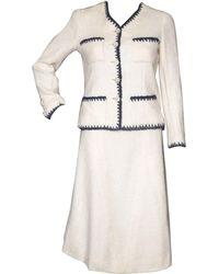 Chanel Tailleur jupe laine mélangée blanc