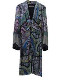Etro - Robe mi-longue soie multicolore - Lyst